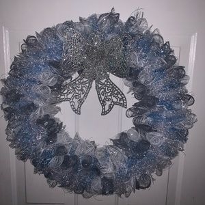 Hand crafted frozen winter themed mesh wreath